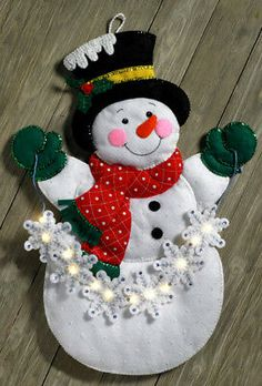 Details about Bucilla Snowflake Snowman ~ Felt Christmas Wall Hanging Kit 86820 Frosty Lights Christmas Wall Hangings, Felt Christmas Decorations, Felt Christmas Ornaments, Christmas Snowman, Christmas Wreaths, Christmas Crafts, Diy Ornaments, Beaded Ornaments, Homemade Christmas