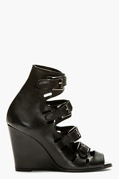 Surface To Air Black Leather Buckle Wedge Sandals for women | SSENSE