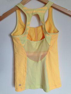Lululemon Run Pace Tank Yellow Stripe Straps Size 2 #Lululemon #SportsBrasBraTops