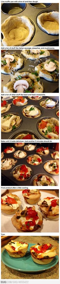 Pizza cupcakes! though Me thinks that a thinner dough or even pastry dough might work really well here.