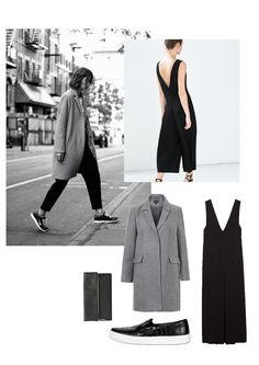 Vernez editorial collage. Fashion, inspiration, style, oversized, coat, jumpsuit, Zara, Topshop, black, grey, #minimal, #minimalist, #outfit