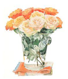 柘植彩子 水彩画 オレンジの薔薇