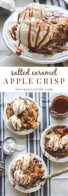 Salted Caramel Apple Crisp Salted caramel apple crisp served warm with scoops of vanilla ice cream and extra salted caramel drizzled on top. the perfect dessert! Get the recipe at Just Desserts, Delicious Desserts, Dessert Recipes, Yummy Food, Baking Desserts, Carmel Desserts, Salted Caramel Desserts, Caramel Treats, Delicious Cupcakes