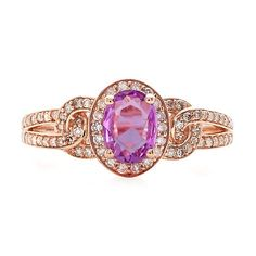 Royal Purple Sapphire® & 1/3 ct. tw. Diamond Ring in 10K Rose Gold - 2173278