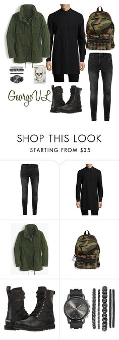 """""""Black and green"""" by georgevl ❤ liked on Polyvore featuring Topman, Helmut Lang, J.Crew, Yves Saint Laurent, SOREL, Alexander McQueen, men's fashion and menswear"""