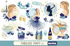FABULOUS PARTY clipart. Wedding Card Templates. $7.00