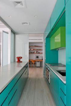 aqua & leafy-green modern galley kitchen