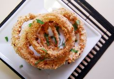 Baked Onion Rings.  Baked is great.
