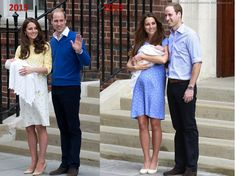 Kate Middleton and Prince William showed off their children (July 2013 vs May 2015).