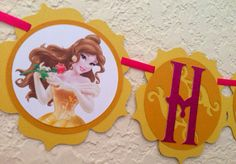 Belle birthday banner, princess belle banner, beauty and the beast birthday banner on Etsy, $26.00