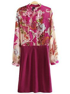 Rose Red Long Sleeve Floral Bodycon Dress EUR€24.41