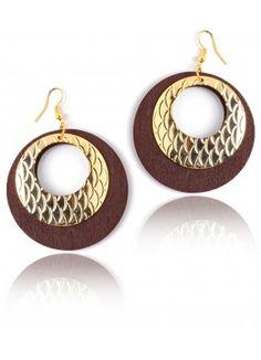 Wood Earrings (Wood & Metal Earrings) Online for Women