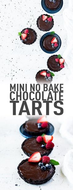 Chocolate lovers rejoice, these no-bake mini chocolate tarts will satisfy any chocolate craving. They're decadent, rich but not overly sweet and did we mention no-bake? Top with your favourite fruits or maybe toasted coconut and it's pure heaven! #chocola