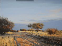 Kalahari sunset by Rika De Klerk Oil Africa Painting, Sky Painting, Landscape Art, Landscape Paintings, Impressionist Landscape, Desert Landscape, Paintings I Love, Nature Paintings, Oil Paintings