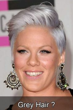 Women who used to fear grey hairs are now rushing to join the silver grey & silver purple hair trend. Our silver hair dye looks will inspire you to do the same Pink Grey Hair, Short Grey Hair, Silver Grey Hair, Short Hair Cuts, Short Hair Styles, Blonde Grise, Blue Hair Highlights, Celebrity Short Hair, Long Hair Tips
