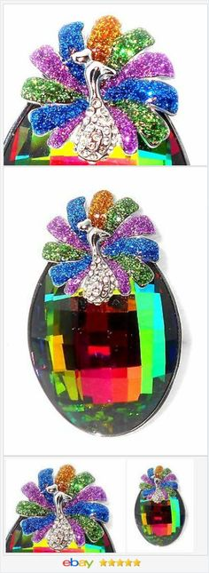 50% OFF #Ebay http://stores.ebay.com/JEWELRY-AND-GIFTS-BY-ALICE-AND-ANN   Peacock Austrian Crystal Pendant 100cts USA Seller
