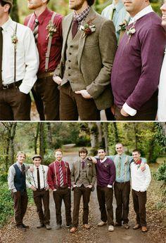 mismatched groomsmen - rich, autumn colors.