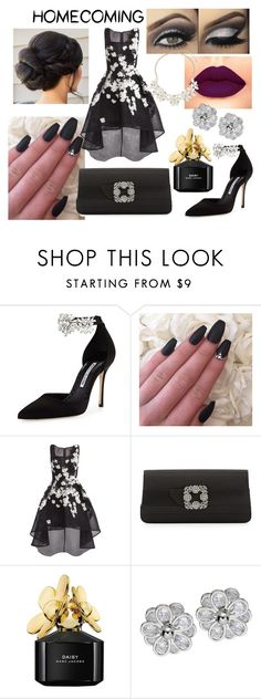 """Homecoming"" by juliasmiles ❤ liked on Polyvore featuring Manolo Blahnik, Jovani, Marc Jacobs and Dorothy Perkins"