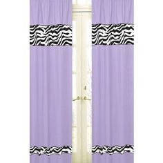 The Purple Zebra Kids Bedding - 4 Piece Twin Set by Sweet Jojo Designs brings a fun and funky contemporary flair to your teen or little girl's bedroom Zebra Curtains, Printed Curtains, Drapes Curtains, Arched Window Treatments, Nursery Window Treatments, Zebra Print Bedding, Zebra Decor, Purple Zebra, White Zebra