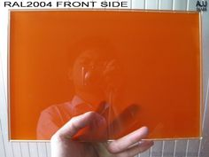silkscreen printing tempered glass with color of RAL2004