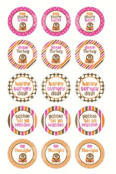INSTANT DOWNLOAD Thanksgiving Bottle Cap Images by DigiPrintz, $1.25