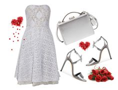 """""""Silver Mood)"""" by klmaria ❤ liked on Polyvore featuring Badgley Mischka, Gucci, Mark Cross, Silver and insilverwetrust"""