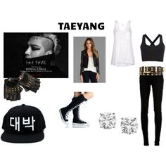 Taeyang by nbafanforlife on Polyvore featuring moda, Splendid, Theory, LAER, dVb Victoria Beckham, Charlotte Russe, bigbang and kpop