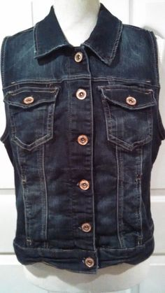fe67549a26c05 Womens Maurices Denim Vest Size 0 Button Front Dark Blue Jean Sleeveless   Maurices  Vest
