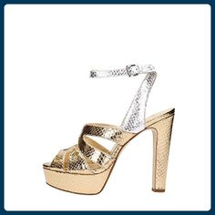 Women's Shoes MICHAEL KORS 40S7WNHA1M 747 Silver / Gold 1 / H SPRING SUMMER 2017 - Sandalen für frauen (*Partner-Link)