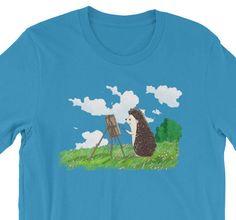 6f7453af2 Items similar to Hedgehog Painter Artful Short-Sleeve Shirt T-Shirt of  Wonder by Urchin Wear Cute Hedgehog Art on Etsy