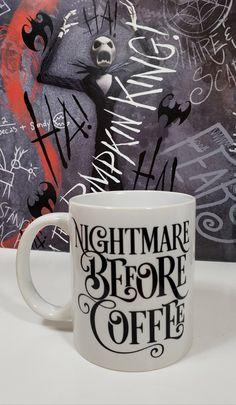 Halloween 2020, Halloween Cups, Coffee Cups, Coffee Time, Christmas Coffee, Jack And Sally, Nightmare Before Christmas Mug, Weekend Sale, Pottery Painting