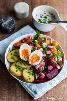 Assiette Complète: Oeuf, Betterave, Pomme de Terre et Salade