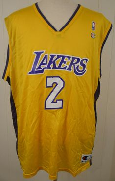 572deafe65ce Vintage Champion Los Angeles Lakers Jersey  2 Derek Fisher NBA 2XL XXL (52)  gold  Champion  LosAngelesLakers
