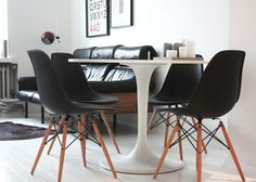 Image result for black chairs white table