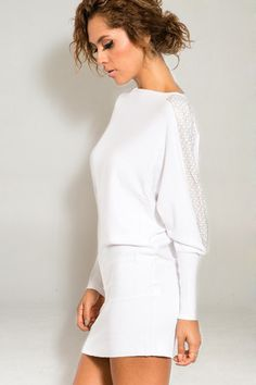 Dolman Style Cashmere Wool Blend Sweater dotted with Crystal.