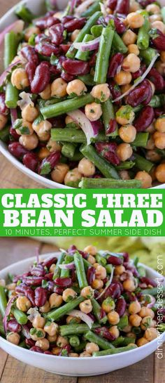 The Classic Three Bean Salad with green beans, garbanzo beans and kidney beans tossed with a sweet and sour dressing made with sugar, vinegar and celery seed is the perfect summer side dish. | #beansalad #threebeansalad #summer #summersidedish #easysides #sidedish #greenbeans #garbanzobeans #kidneybeans #picnicrecipes #summerecipes #saladdressing #dinnerthendessert