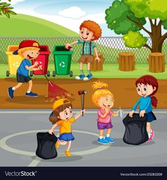 Volunteer children cleaning park vector image on VectorStock Preschool Learning Activities, Kids Learning, Drawing For Kids, Art For Kids, Earth Day Drawing, Picture Comprehension, Picture Composition, Kids Background, School Painting