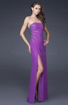 Sexy Ruched Sleeveless Strapless Elastic Woven Satin Floor Length Purple Party Dress