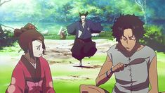 This anime is quite a long time, but now I came across ... a little comedy , but rather, where the three main characters together . the film ends with little disappointed because all three ... but each one fell short anime SAMURAI CHAMPLOO is well worth a look .. :) ) )