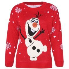 Womens Ladies Novelty Olaf Frozen Style Christmas Jumper Sweater Xmas... ($12) ❤ liked on Polyvore featuring tops, sweaters, shirts, christmas, red christmas shirts, shirts & tops, christmas sweater, red jumper and unisex sweaters