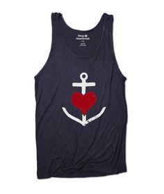 Anchor Through Heart Navy