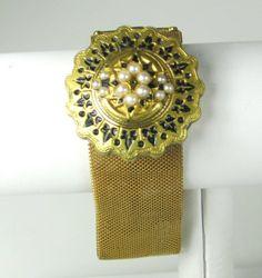Victorian Faux Pearl Enamel Slide Bracelet by judysgems2 on Etsy, $179.99
