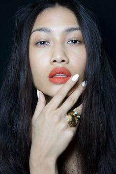 White Nails.; Nanette Lepore Spring 2014