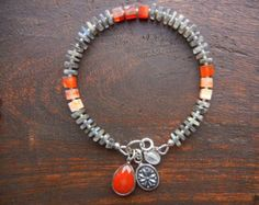 Multicolor Bracelet with Glowing Labradorite, Carnelian Mixed Gemstones and Vintage Charms - OOAK Boho Jewelry