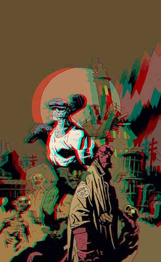 Hellboy and The Goon in 3D Anaglyph by xmancyclops