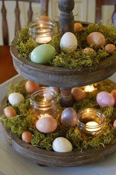 Suporte para doces/fruteira se transformou em peça de decoração para a Páscoa. #candles #velas #ovos #eggs #páscoa #easter #decoração