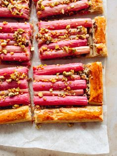 Only 5 ingredients needed to make this simple, speedy rhubarb tart! Sweet and crisp, this is the perfect dessert for a dinner party as it's so easy to make  looks beautiful! // topwithcinnamon.com // Izy Hossack