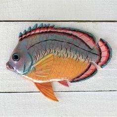 Spanish Hogfish Resin Tropical Fish Wall Decor Fish Wall Art, Fish Wall Decor, Fish Art, Tropical Wall Decor, Coastal Decor, Ocean Colors, Vibrant Colors, Painted Metal, Hand Painted
