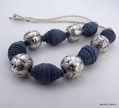 Necklace chunky denim and big round silver by AstridsJewelGarden, £23.00