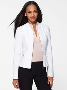 A Cache item: I love a white blazer. They are effortlessly chic and professional. And they are of course totally appropriate for spring and summer styles in and out of the workplace.